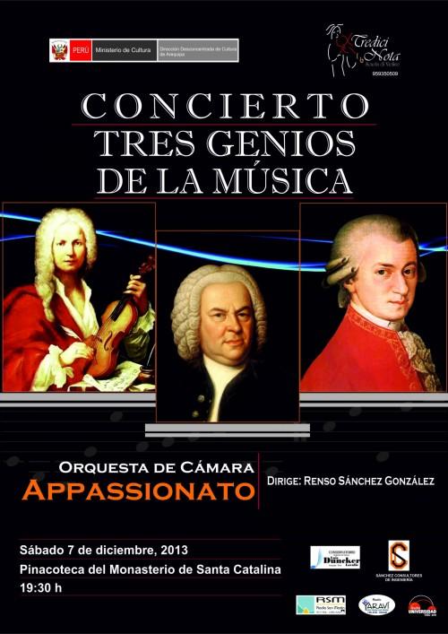 Tres Genios de la Música - sábado 7 de diciembre 2013